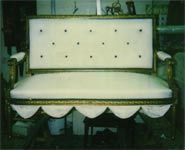 Antique Settee Reupholstered in Silk by Carol Tate Co, Seattle.
