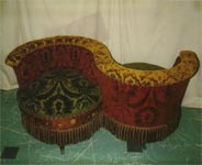 Tete a Tete Reupholstered by Carol Tate Co, Seattle for Brian Coleman Victoriana Specialist, Collector and Author. Seattle.